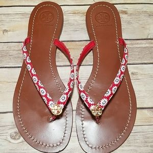 Tory Burch red floral Terra Thong patent sandals